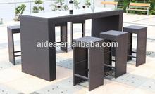 outdoor wicker high dining bar set+pe rattan bar set