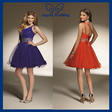CT011A 2014 ruched one shoulder crystal puffy short red bling bling Cocktail Dress