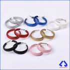 Multi Color Big Wide PU Leather Circle Earrings