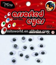 MTHYJ-TY007 Plastic Circle Moving Eyes DIY Toys Animal Wiggly Eyes