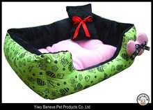 green flower printing dog bed pet house cushion