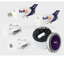 Logo printed airplane shape usb thumb drive usb pen, tin box package airplane usb stick,