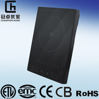 ETL CET home appliances good quality black crystal table top induction cooker manufacurer prefessional product