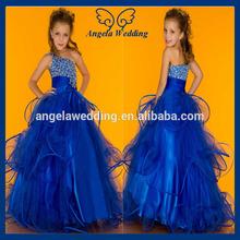 FL004A 2014 princess organza royal blue one shoulder floor length beaded puffy flower girl dresses