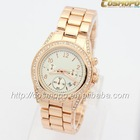 2014 New kors Gold alloy steel watches Luxury Brand Women Watch calendar diamond watches