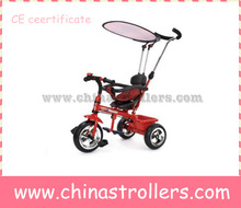 Metal frame baby tricycle with canopy and safety belt