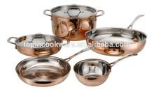 7pcs straight shape tri-ply induction copper set