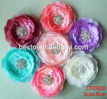 CF 0908 Festive&Party decorative China rhinestone center fabric flowers wholesale