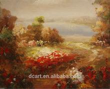 Mediterranean flower & sea landscape canvas oil painting