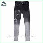 2014 fashion black women embroidery skull design skinny legging denim Jeans pants
