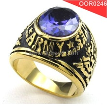 Good qualiy purple crystal inlaid Champion ring, elegant stainless steel 316L champion ring