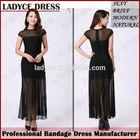 Wholesale elegant black bodycon chiffon maxi dresses.