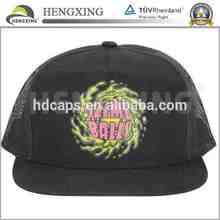 Short Brim Flat Bill Mesh Weaving Cap With Embroidery