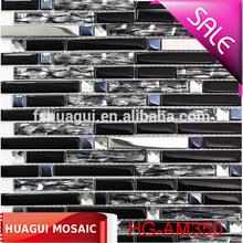 High-end black strip glass mix metal diamond mosaic tile for construction wall decoration