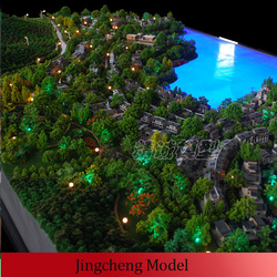 Miniature architectural model with beach,landscape,housing,lighting
