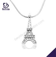 Tower shape cz set silver wholesale fish bone pendant