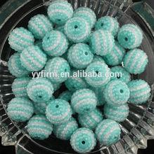 22mm Mint Green Rhinestone Striped Resin Beads Chunky Bubblegum Necklace Beads