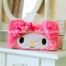 lovely rabbit ear plush tissue box & plush tissue box on the car & funny animal shape tissue box plush toy