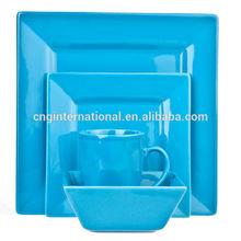16PCS Solid Color Blue Square Stoneware Dinnerware Set