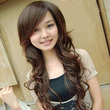 New Style Women Girls Popular Sexy Long Fashion Full Wavy Curly Hair Wigs + Wig Cap Dark Brown