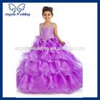 FL028A halter diamond sequin organza ruffle ruched full length ball gown light purple flower girl dress