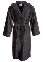 men's black velour hooded bathrobe