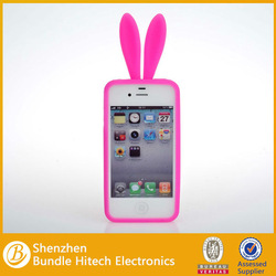 2014 Brand New cute Rabbit Silicone Back Cover Case For Apple Iphone 4/4S,oem is welcome