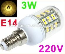 Warm White Spotlight 220V 3W E14 LED Bulb 48 SMD3528 LED Lamp Corn Light with Cover Free shipping