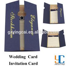 Customized luxury diamond with ribbon gold stamping wedding invitation card&wedding card