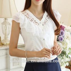 New 2014 fashion women summer falbala casual base lady shirt Hollow out flowers 2 color S~XL Chiffon Lace Blouse