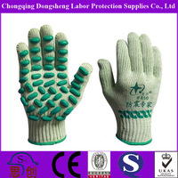 Anti-Vibration 7Gauge T/C Shell latex foam dots coated Safety machine for production work gloves
