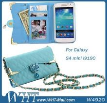 Luxury Handbag China Leather Flip Case For Samsung Galaxy S4 Mini i9190 Wallet Purse Cover