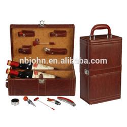 custom wine tools 2 bottles leather wine carrier