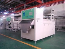 Separate stalks and yellow-wish leaves from tea raw material by double belt-type color sorter