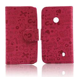 cute carton wallet flip leather case for nokia lumia 520 521