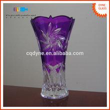 High-end Elegant Purple Colored Flower Crystal Glass Vase