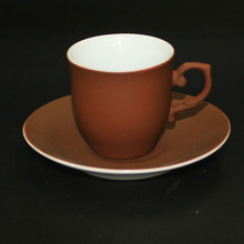 New Product Rubber-like Paint Cups and Saucers Porcelain Material Dark Brown Color
