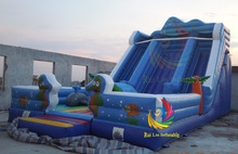 ruilin blue inflatable octopus slide/inflatable dry slide for sale