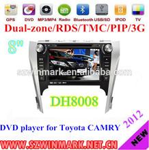 "2 din 8"" car DVD player for Toyota Camry 2012 GPS,Bluetooth,Radio,TV,RDS,TMC,PIP,3G etc DH8008"