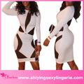 baratos branco geométrica preto malha stretch vestido club