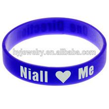 Slim blue bangle latest design cheap silicon bracelet sport customized team friendship bracelet 2014