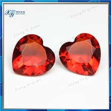 decorative glass gems diamond/ light red heart shaped crystal stone for dresses/ glass gems