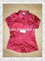 blusa de diseños para la oficina del cuello dama del bordado de tela de satén