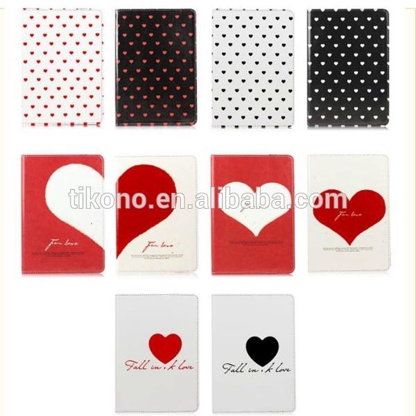Heart shape stand pu case for ipad mini 2 ,fashion case for ipad mini 2