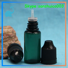 e-juice ecig green pet 10ml plastic dropper bottles wholesale with childproof cap