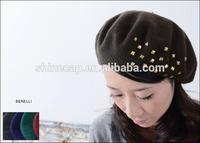 Fashion women wool beret custom berets with studs decoration