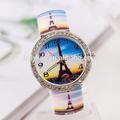 2014 traje de negocios para las señoras de moda de la torre eiffel reloj de pulsera