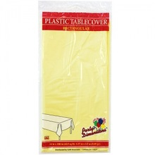 """54"""" X 108"""" Yellow Rectangular Plastic Tablecover 48 Count"""