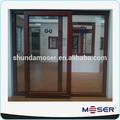 De alta calidad de madera maciza de doble cristal de la puerta de diapositivas/puerta de diseño de la parrilla