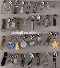 Fashion brass zipper metal head zipper puller zipper plastic doll heads crafts